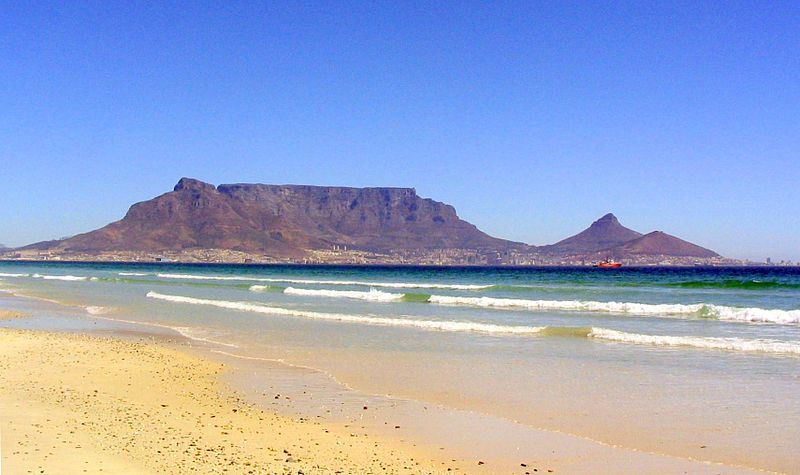 The Table Mountain and Ocean in Cape Town.